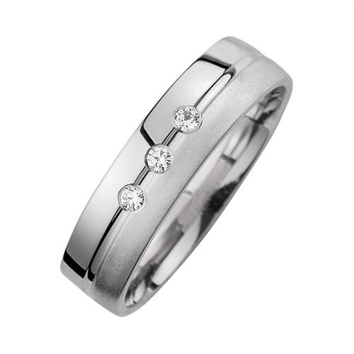 Eheringe Weißgold mit Diamanten Breite 5 mm