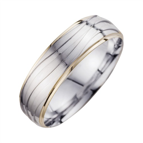 Wedding Rings Yellow And White Gold Width 6.5 mm