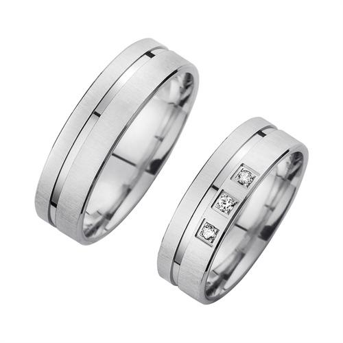 Ringe - Eheringe Weißgold mit Diamanten Breite 6 mm  - Onlineshop The Jeweller