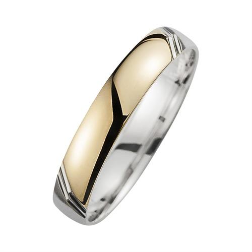 Eheringe Gelb- und Weißgold mit Diamanten Breite 4 mm