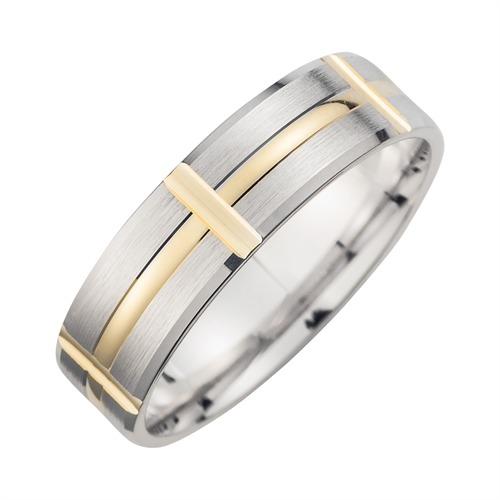 Eheringe Weiß- und Gelbgold mit Diamanten Breite 6 mm