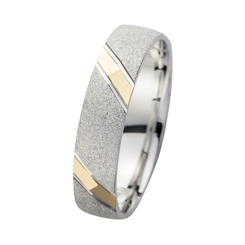 Eheringe Gelb- und Weißgold mit Diamanten Breite 5 mm