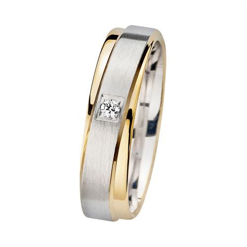 Eheringe Gelb- und Weißgold mit Diamant Breite 5 mm
