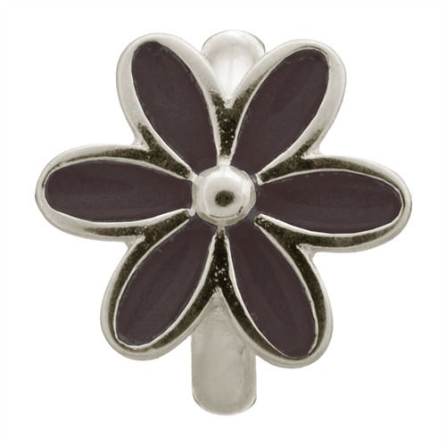 Black Enamel Flower Silver Charm Endless Silber 41155-4