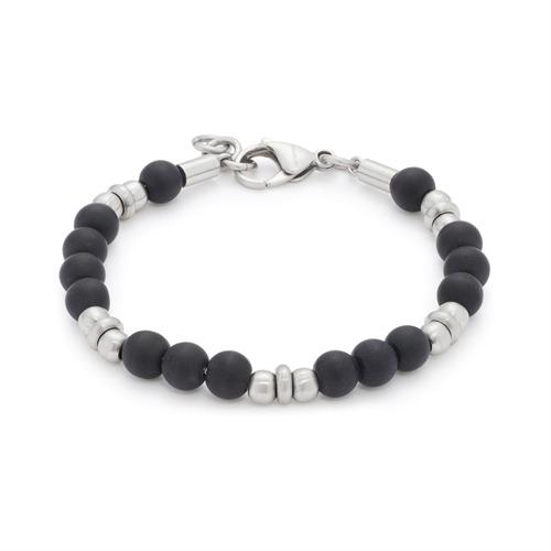 Herrenarmband mit schwarzen Perlen