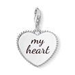 Gravierbarer Charm Anhänger Herz Mum aus 925er Silber