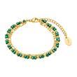 Damenarmband aus Edelstahl mit Glasperlen, gold grün