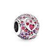 925er Silber Charm Hearts of love mit Zirkonia