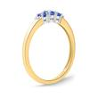 585er Gold-Ring 3 Saphire 0,377 ct. 2 Diamanten