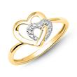 Herz-Ring 585er Gelbgold 4 Diamanten 0,0208 ct.