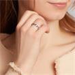 585er Weißgold Ring Diamanten und Saphire