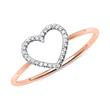Damenring Herz aus 585er Roségold mit Diamanten