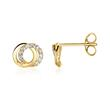 Circle Stud Earrings For Ladies In 9K Gold With Zirconia