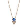 Halskette für Damen aus Edelstahl rosé Perlmutt blau