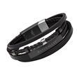 Gravur Armband aus schwarzem Leder mehrsträngig