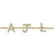 585er Goldarmband mit Brillanten, 3 Buchstaben, Symbole