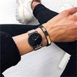 Gravur Armband Signum aus schwarzem Leder IP Roségold