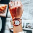 Gravur Armband Signum aus Leder und Edelstahl in Rosé
