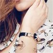 Armband schwarz Leder roségold