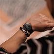 Nylon Armband schwarz silber