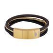 Herren Armband Bolgar aus Leder und Edelstahl, gold