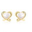 Weiße Perlenohrstecker: 925 Silber vergoldet