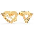 Heart Stud Earrings Cupid Arrow For Ladies Stainless Steel, Gold