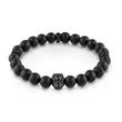 Mens Bracelet Hero Lion made of stainless steel agate, black