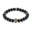 Armband Löwe für Herren aus Edelstahl Perlen schwarz