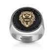 Men's ring lion seal made of partially gold-plated stainless steel