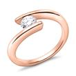 18K Rotgold Verlobungsring mit Halbkaräter
