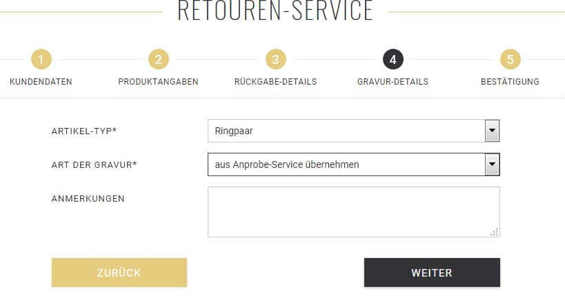 Screenshot Retourenservice